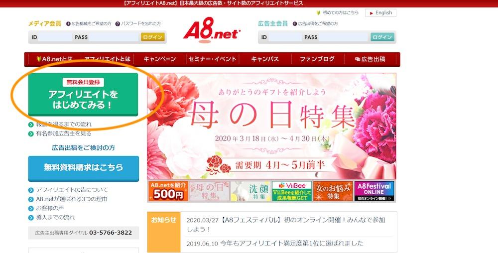 A8ネット(登録方法・公式サイト)